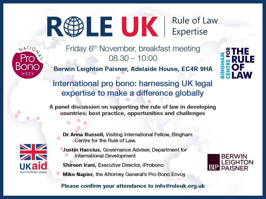 Invitation to ROLE UK event on 6th November
